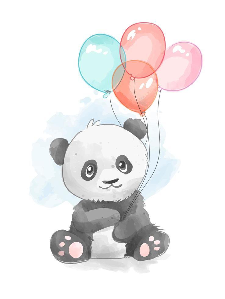 cartoon panda met kleurrijke ballonnen vector