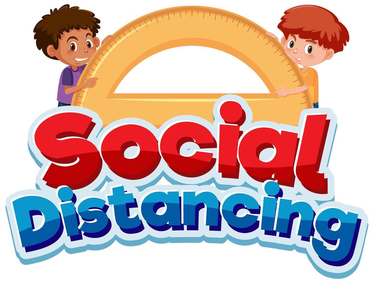 sociale afstand poster met jongens en gradenboog vector