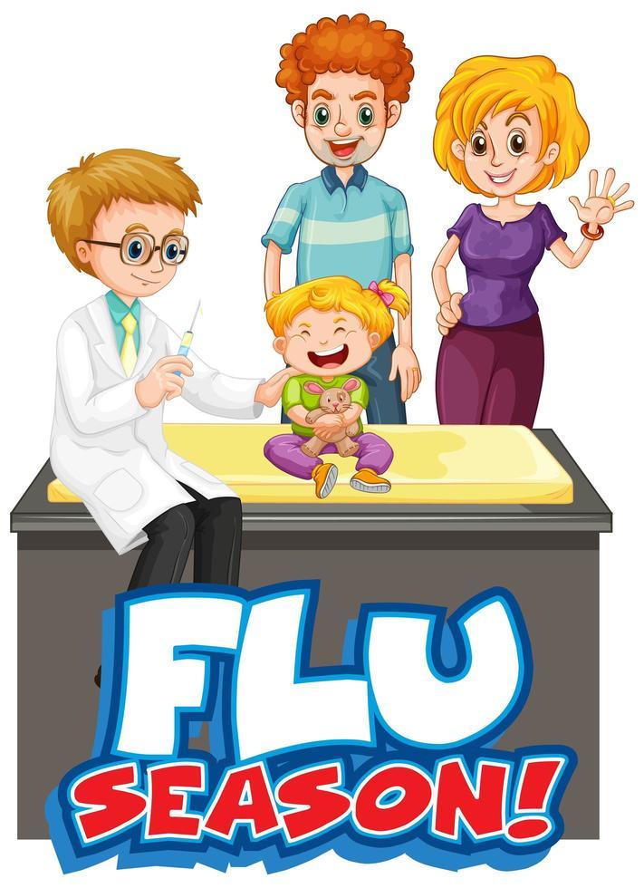 griepseizoen poster met kind en arts vector