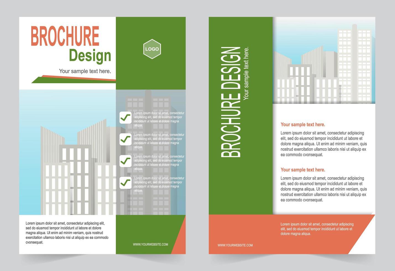groen en oranje brochure sjabloon voor marketing voor zakelijk gebruik vector