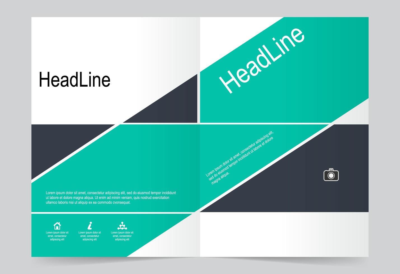 turquoise en zwarte geometrische rapport voorbladsjabloon set vector
