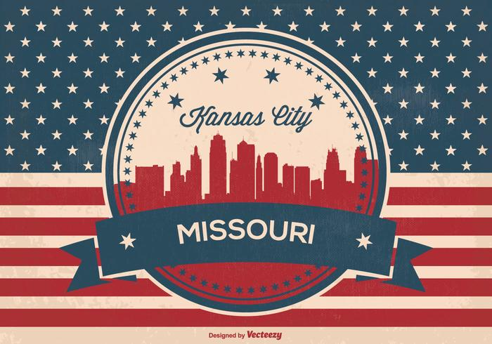 Retro Kansas City skyline illustratie vector