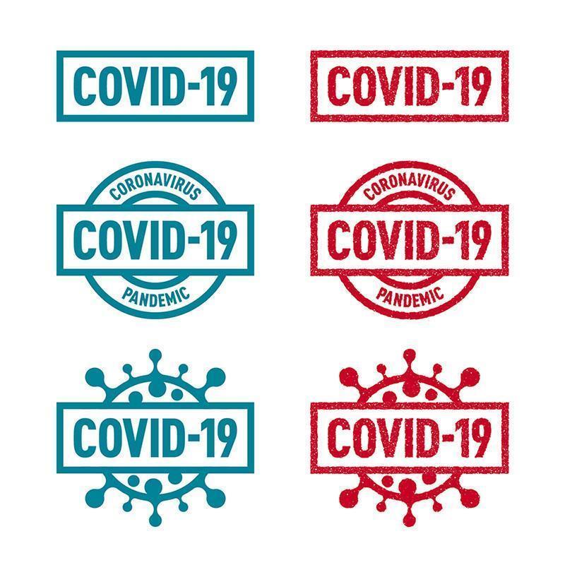 solide en postzegel covid-19 badges vector