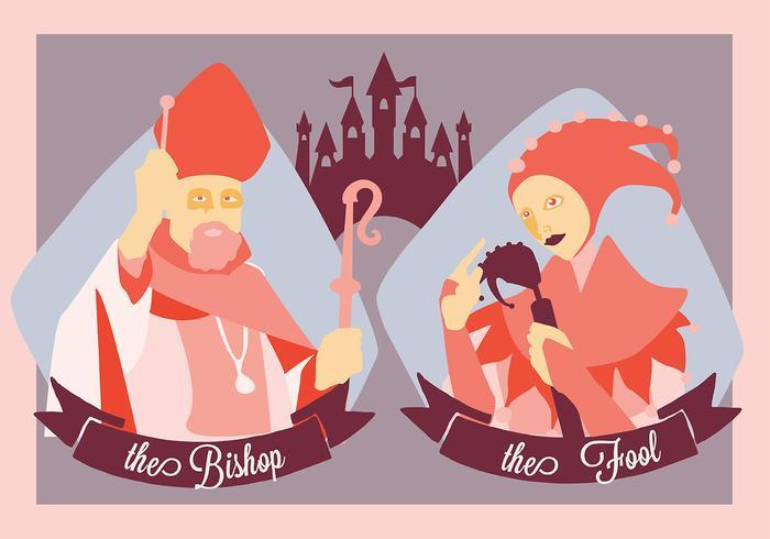 Gratis middeleeuwse mensen De bisschop en de dwaze vectorillustratie vector