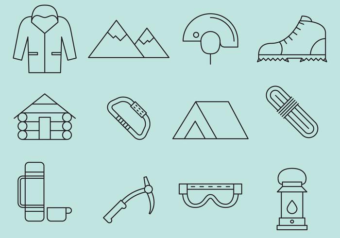 Bergbeklimmen lijn iconen vector