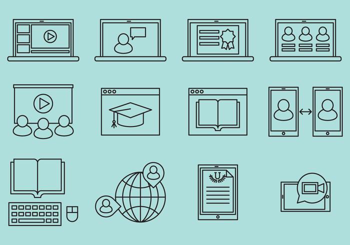 Webinar lijn iconen vector
