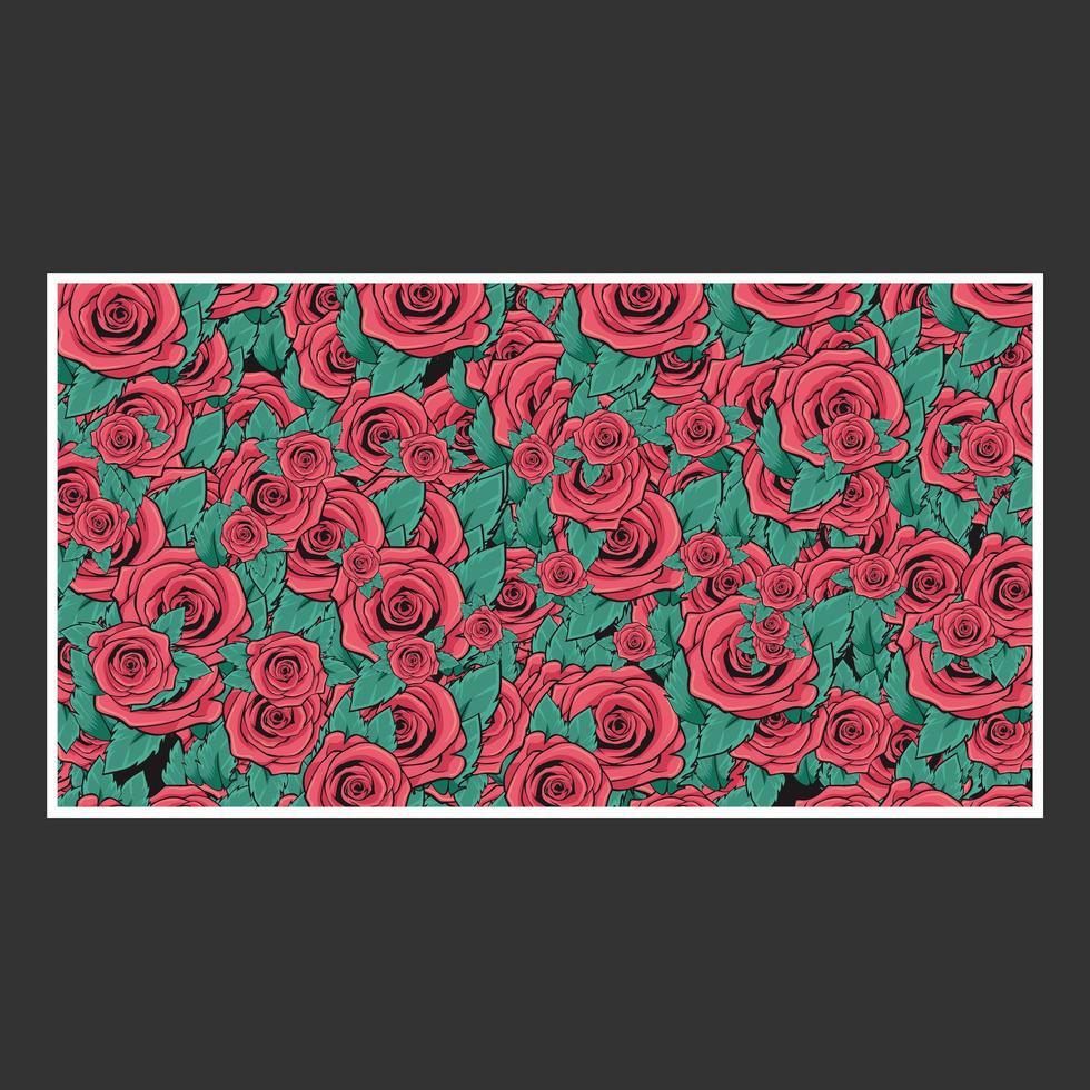 hand getekende roos patroon vector