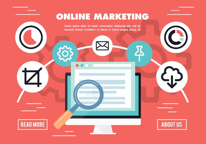 Gratis Flat Online Market Research Vector Achtergrond