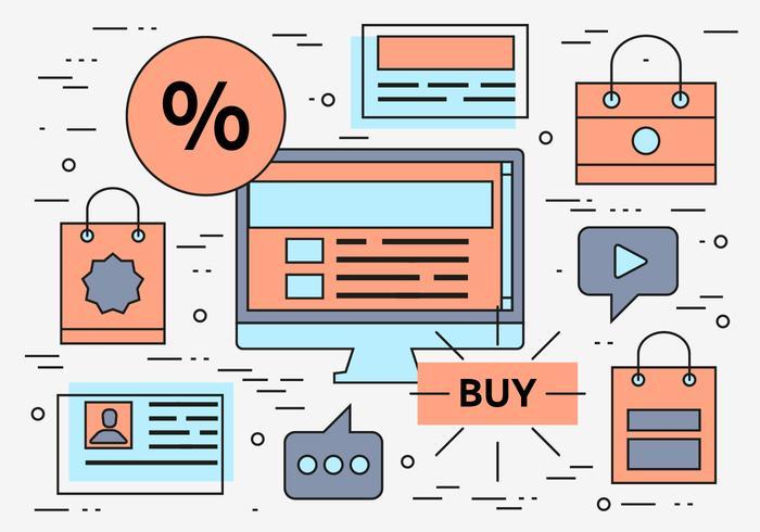 Gratis Lineaire Online Winkelen Vector Achtergrond