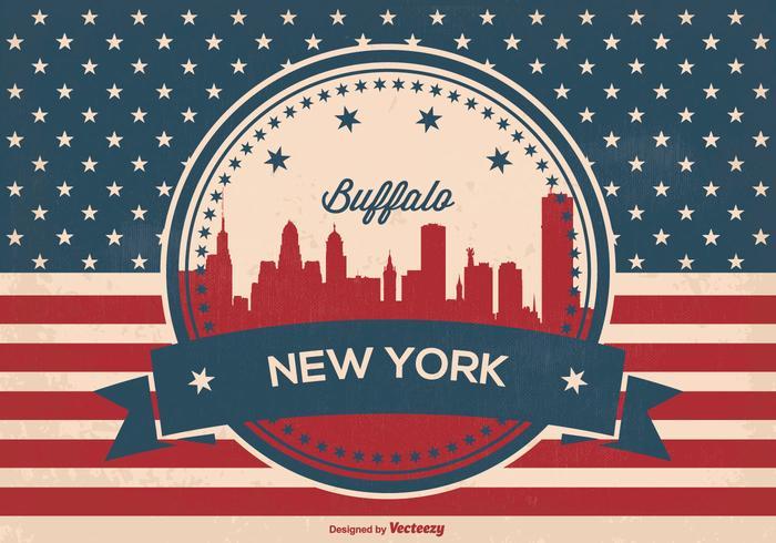 Retro buffalo new york skyline vector
