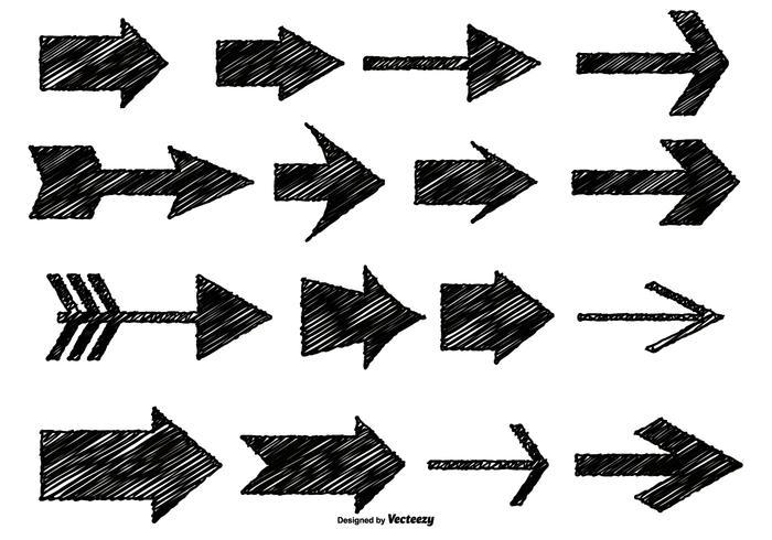 Messy Sketch Style Arrows vector