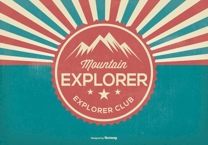 Mountain Explorer Retro Illustratie vector