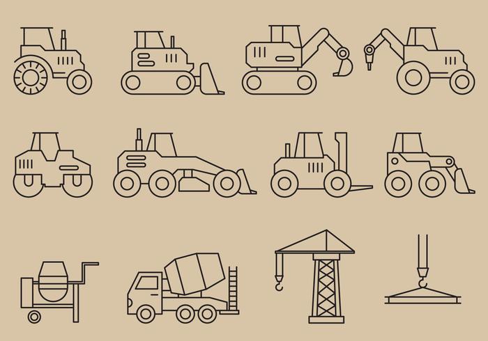 Bouwvoertuigen Pictogrammen vector