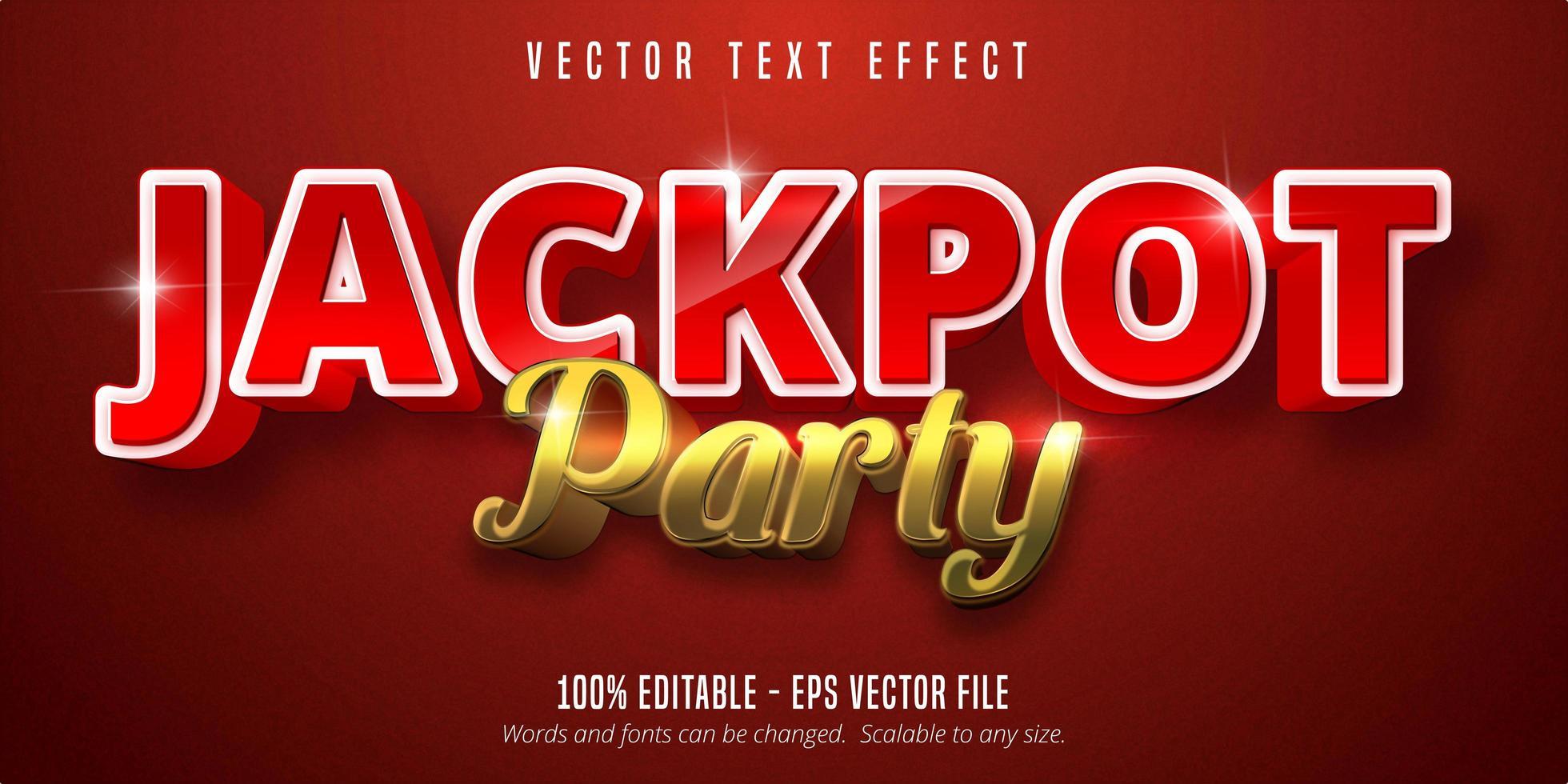 jackpot prijsstijl, bewerkbaar teksteffect vector