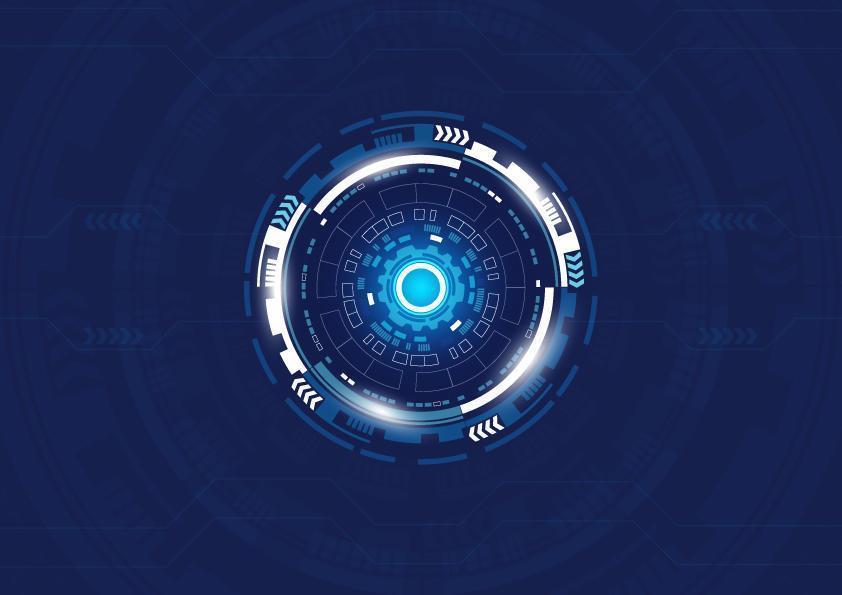 blauwe cirkelvormige vormen digitaal technologieontwerp vector