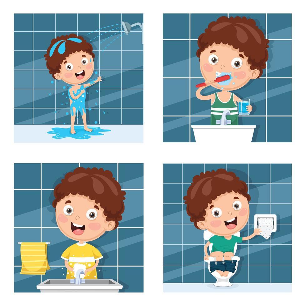 aantal jongens baden en tanden poetsen vector