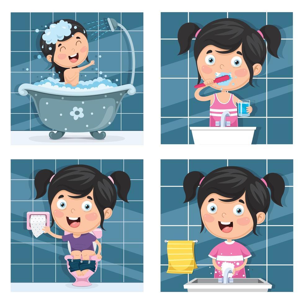 meisje baden en ochtend routine set vector