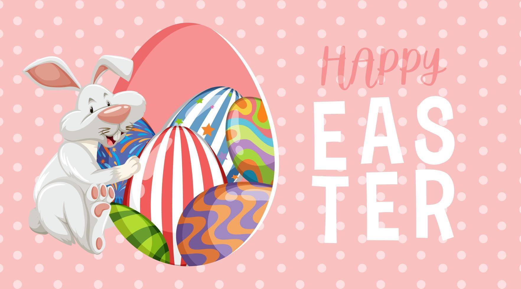 roze, witte polka dot Pasen achtergrond met konijn en eieren vector