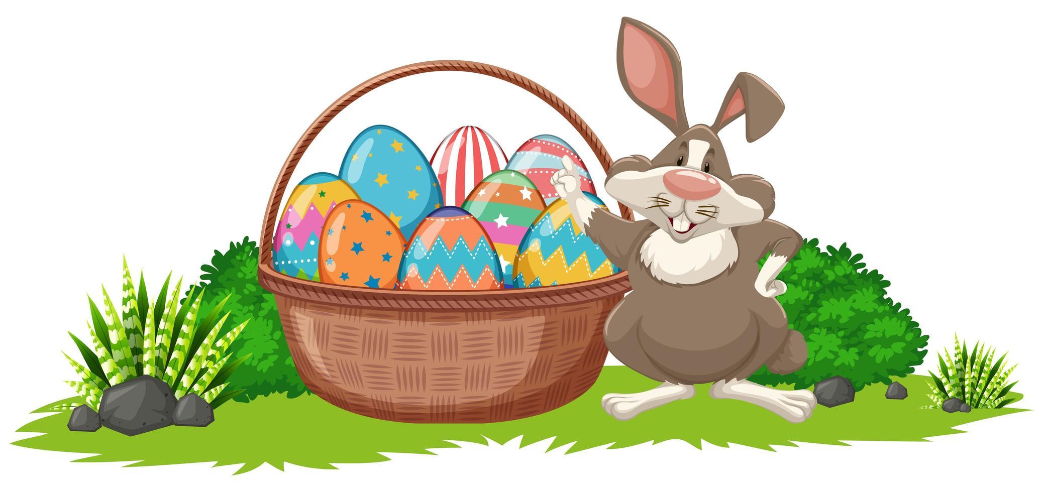 Pasen-achtergrond met konijn en mandhoogtepunt van eieren vector