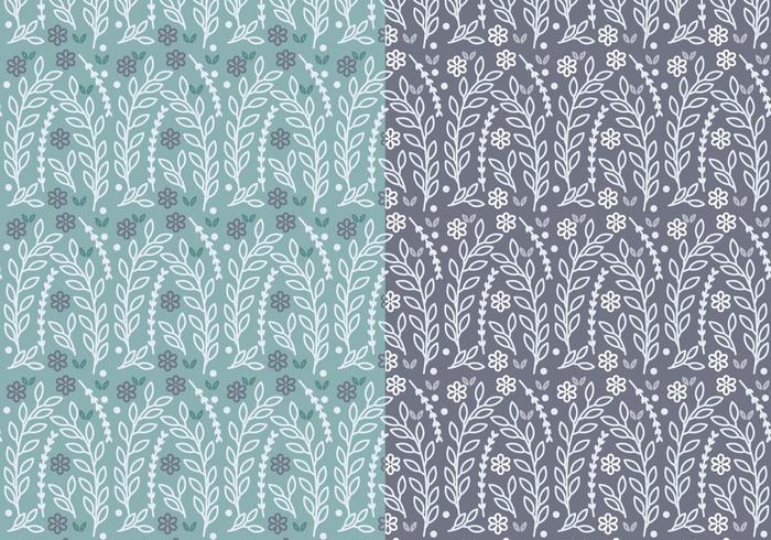 Blauwe Floral Branch Vector Patroon Set