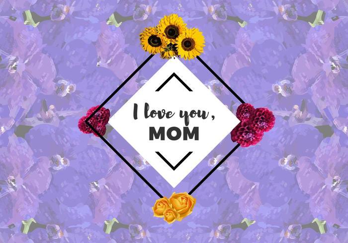 Gratis Ik Hou Van Mama Bloemen Vector