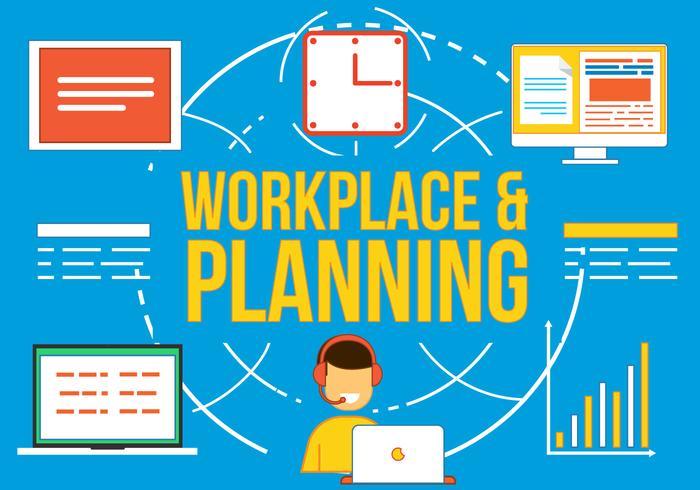 Vrije Werkplek en Planning Vetor vector