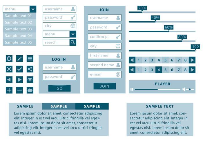 Monochromatische en Minimalistische Web Kit vector