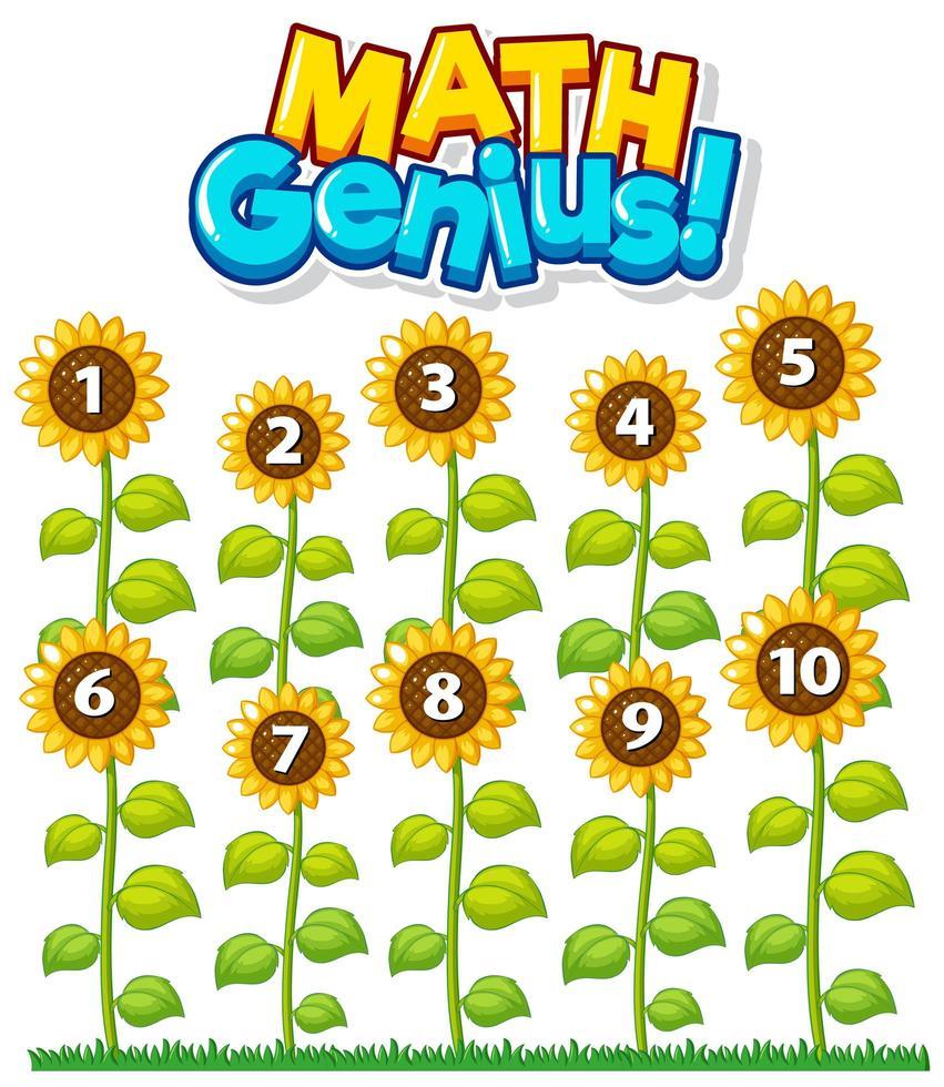wiskundig genie met het tellen van bloemengrafiek vector