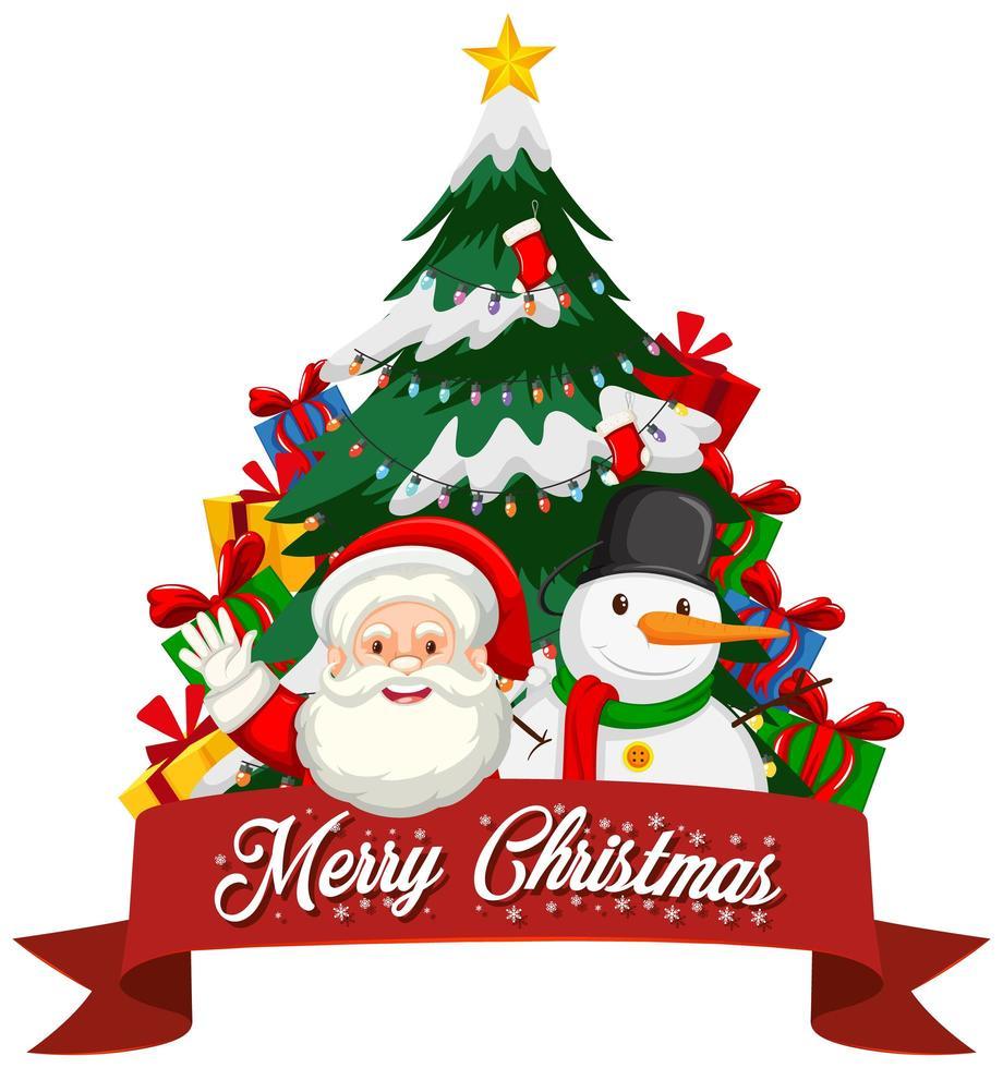 Kerstthema met santa en boom vector