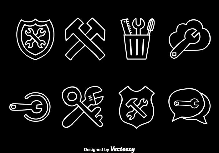Toolbox White Line Icons vector