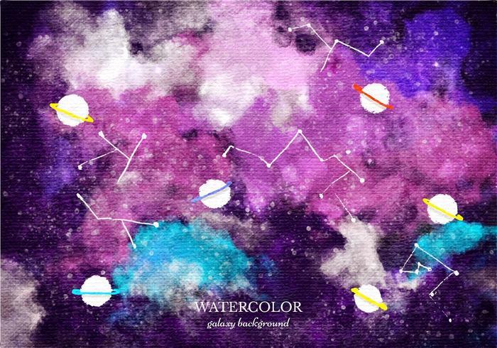 Gratis Vector Waterverf Galaxy Achtergrond