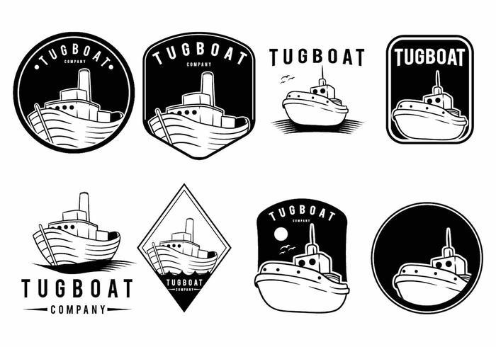Sleepboot badge set vector