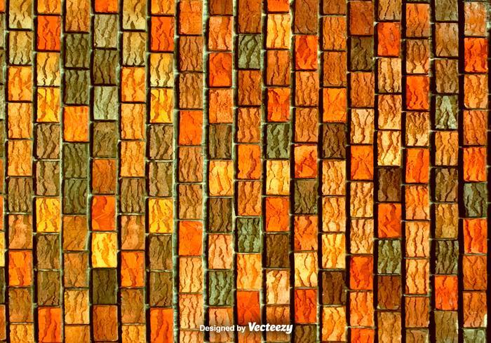 Rode Oranje En Bruine Verticale Bakstenen - Vector Textuur