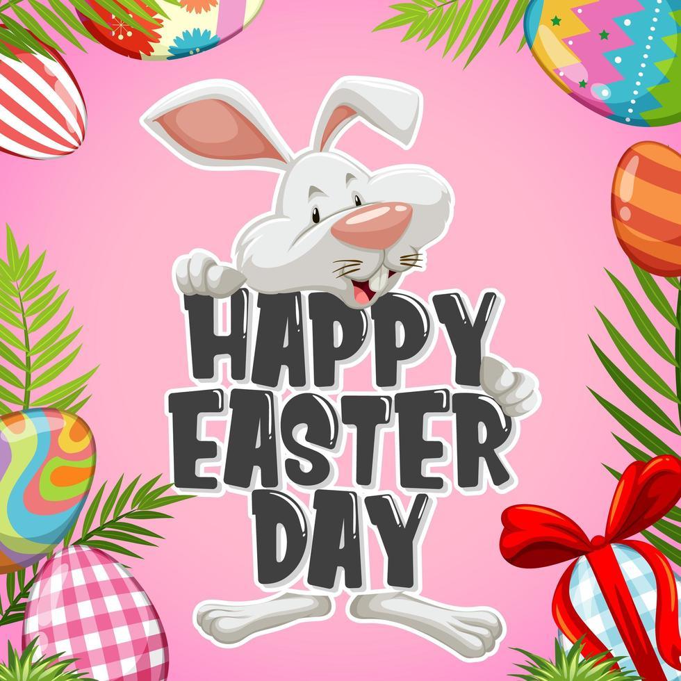 '' happy easter '' met wit konijn achter vector
