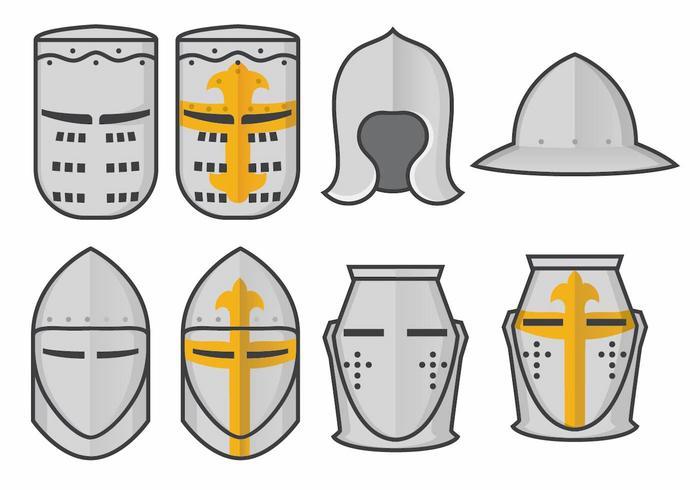 Templar ridder helm vector set