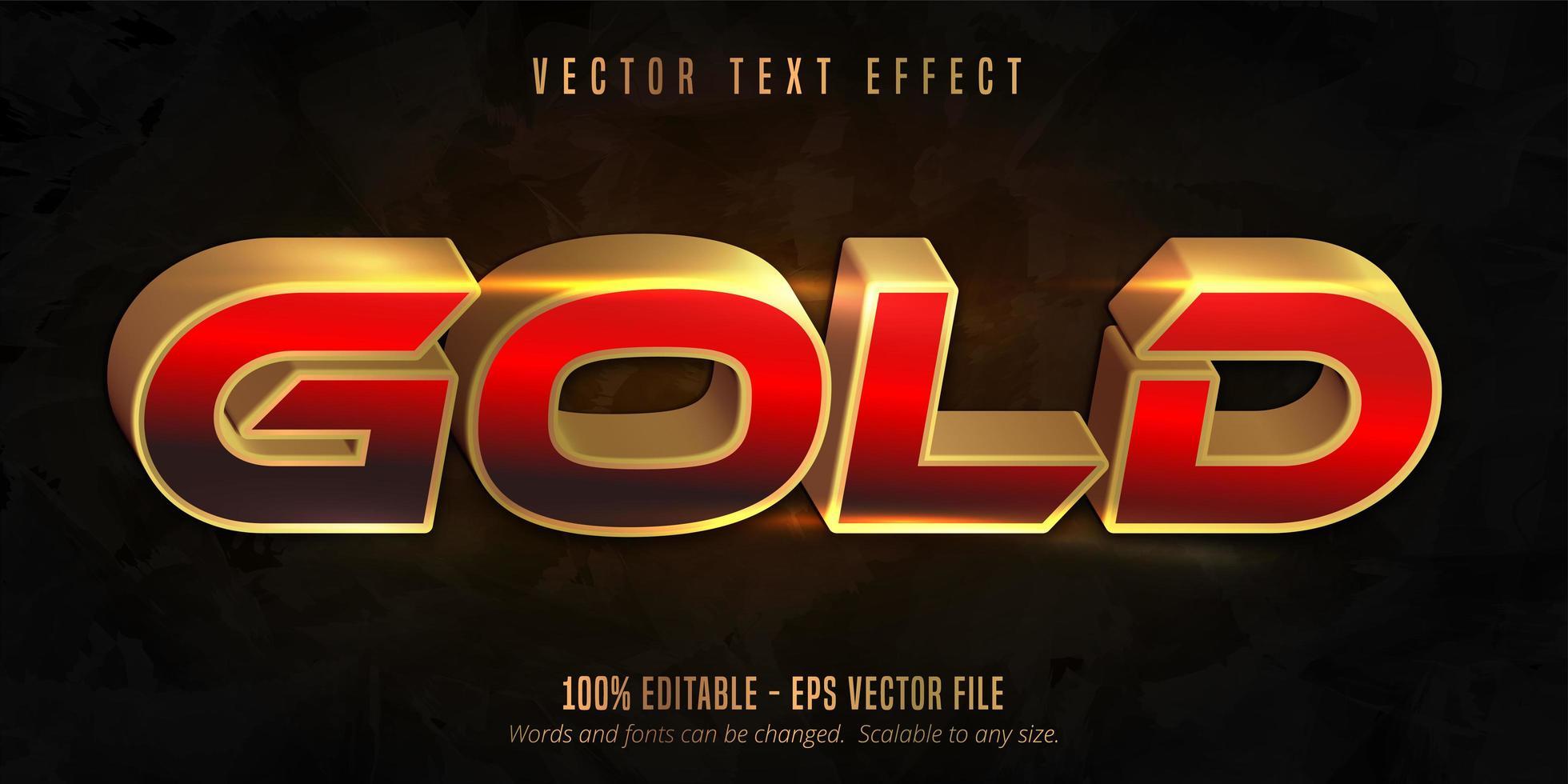 glanzend rood en goud bewerkbaar teksteffect vector