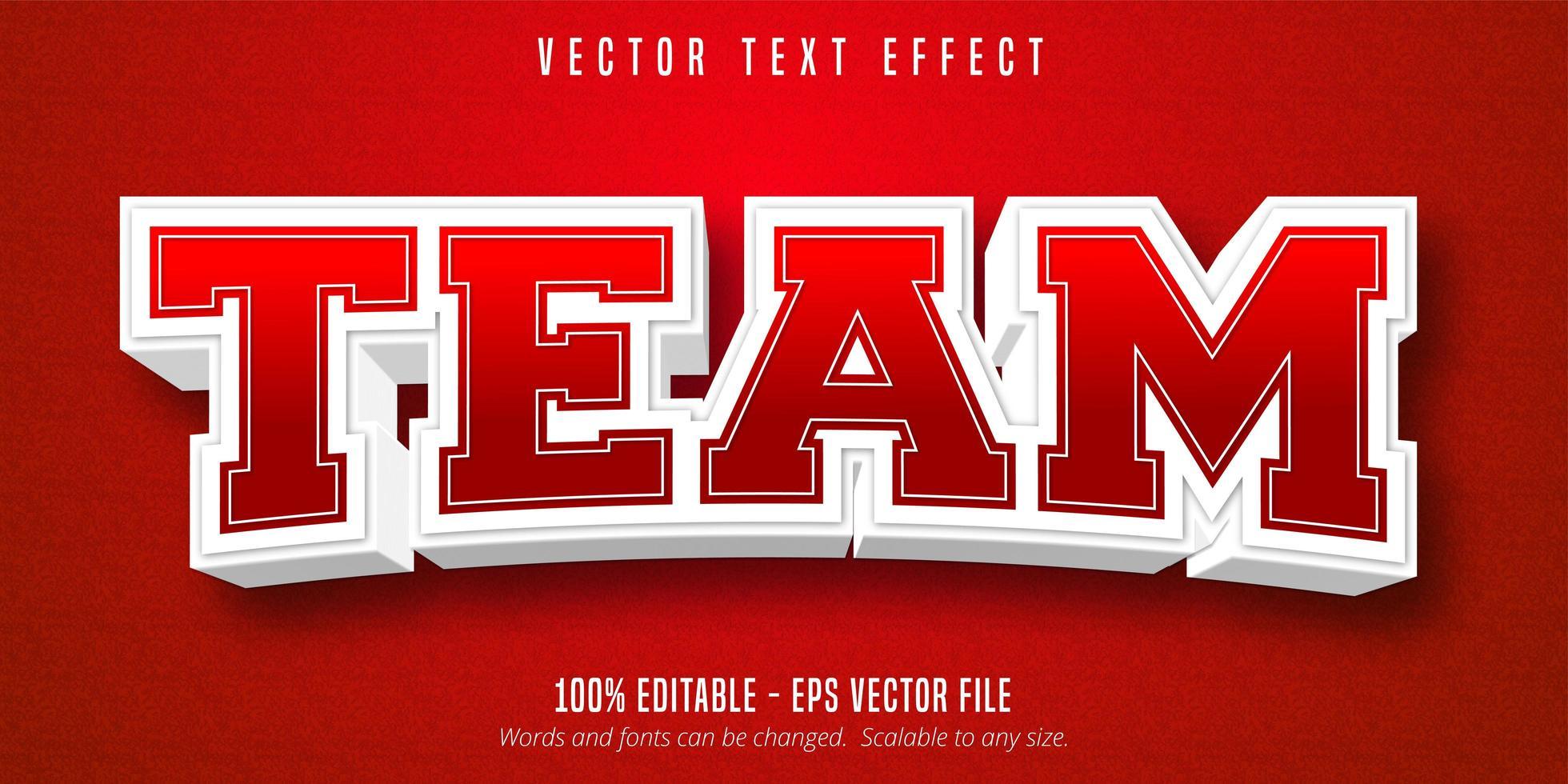 team rode en witte contouren sport stijl teksteffect vector