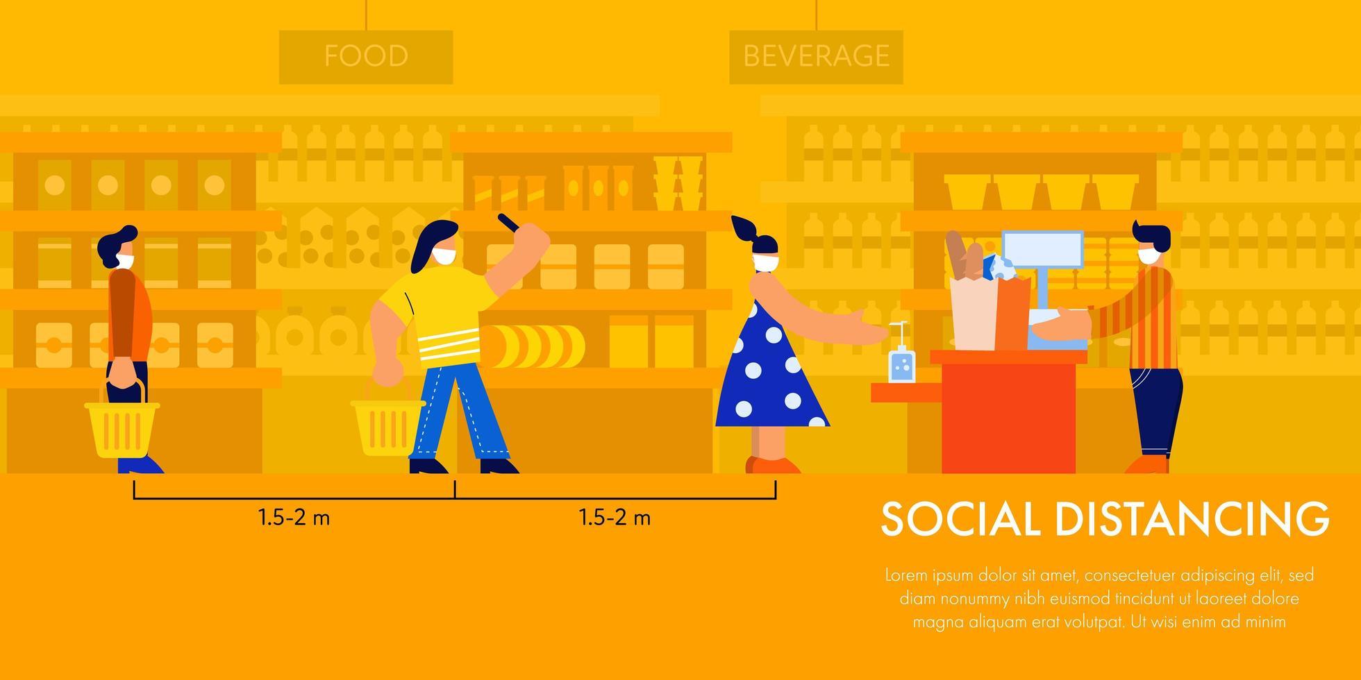 sociale afstand in lijn bij supermarkt vector