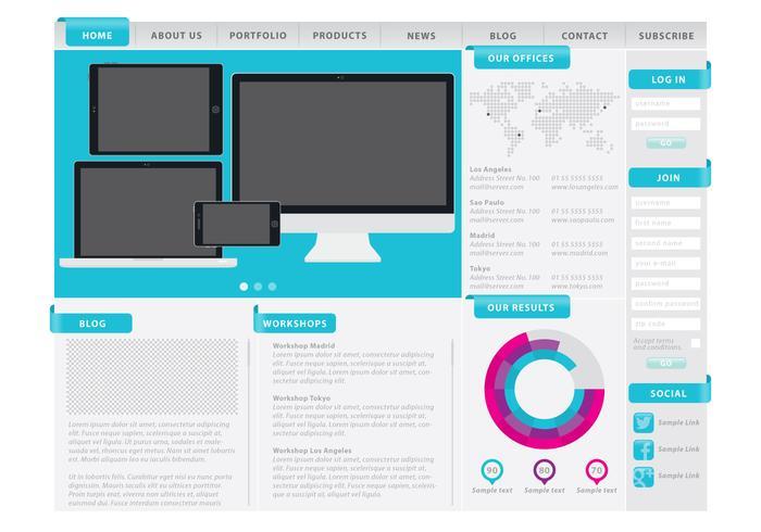 Web Template Met Afdelingen vector
