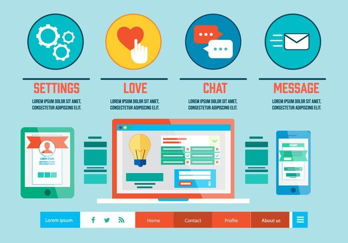 Gratis Flat Digital Marketing Vector Illustratie
