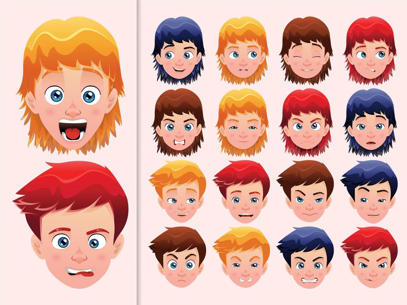 set gezichtsuitdrukkingen vector