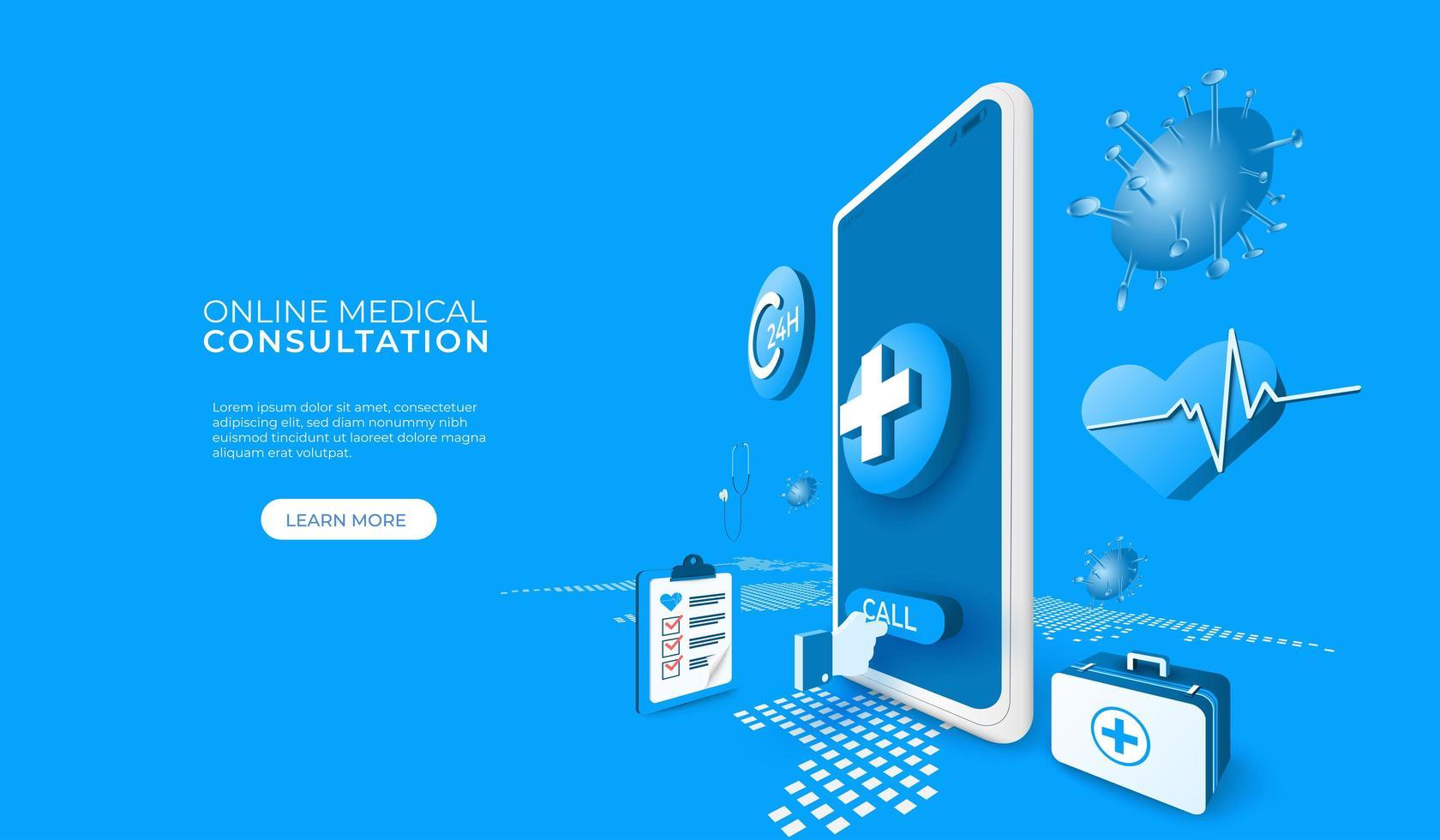 online medisch consult via telefoon of tablet vector