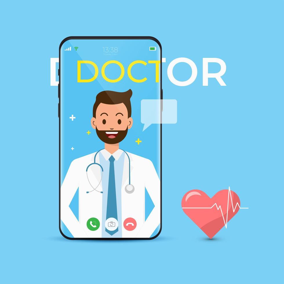 telefonisch consult online met dokter app vector