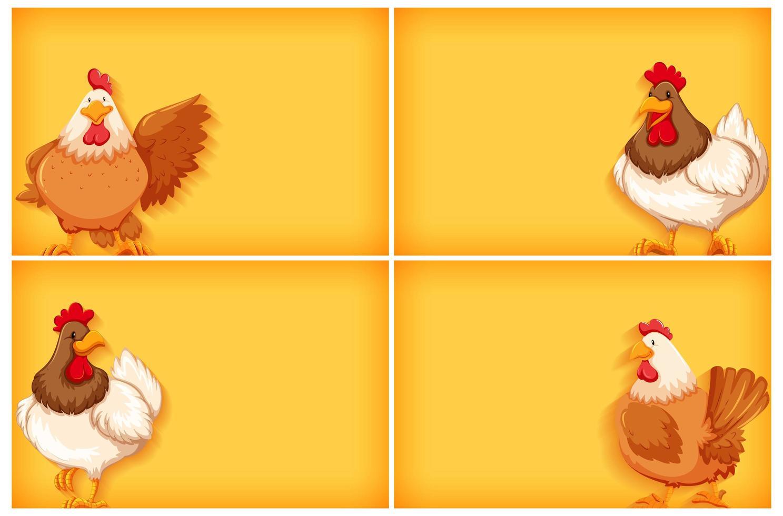 achtergrond sjabloon met effen kleur en kippen vector