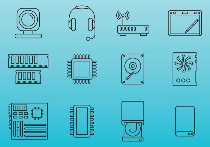 Computer onderdelen iconen vector
