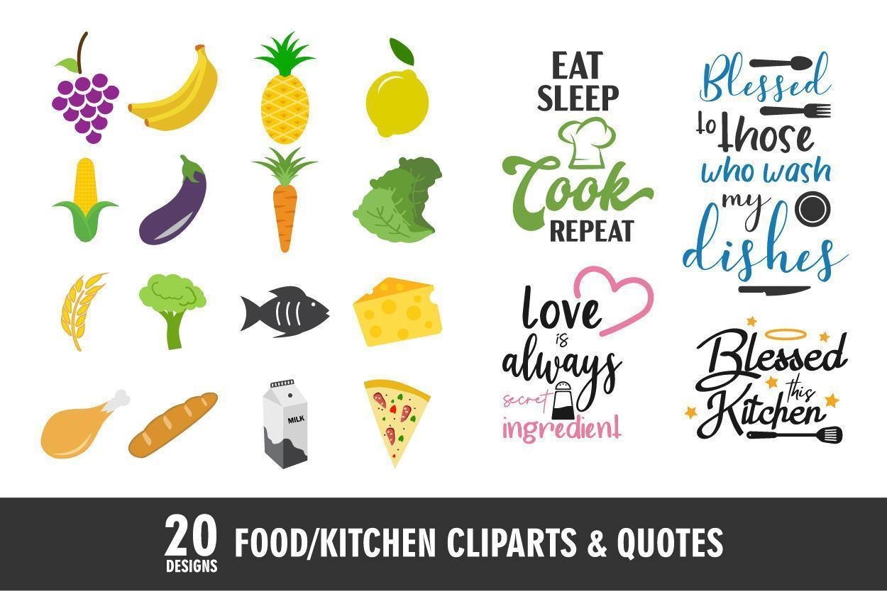 voedsel en keukenpictogrammen en citaten vector