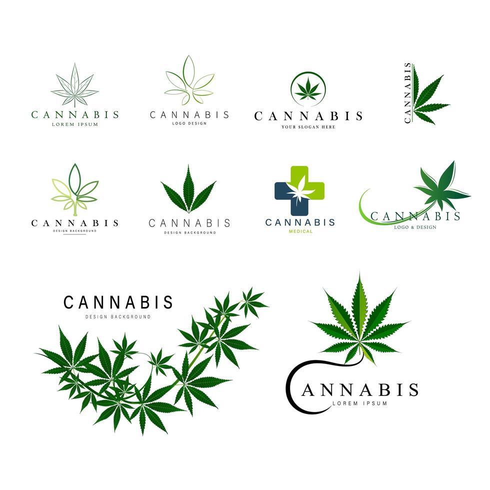 set van groene medicinale cannabis logo's vector