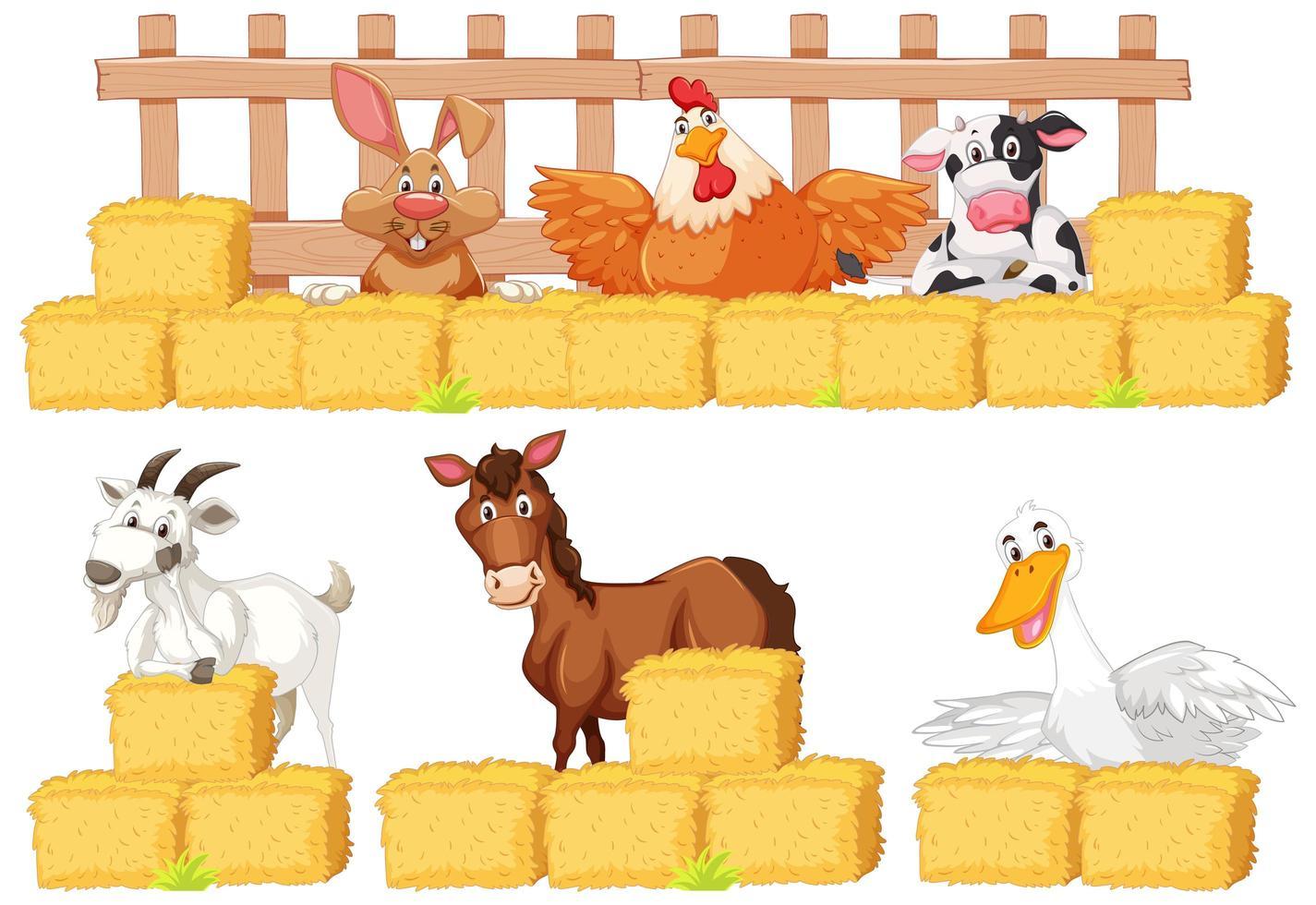 set boerderijdieren en hooi vector