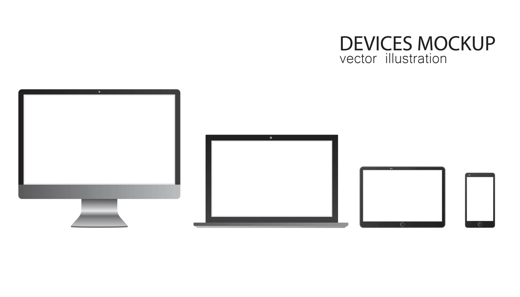 set van monitor, tablet, laptop, smartphone vector