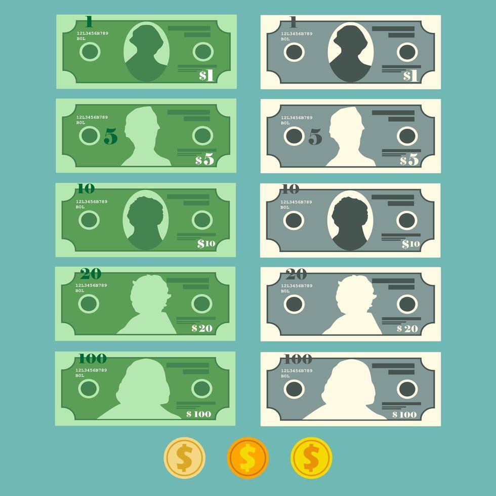 valuta dollar bankbiljet ingesteld vector